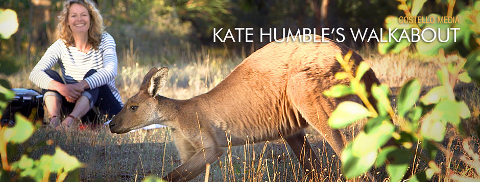 Kate Humble with kangaroo
